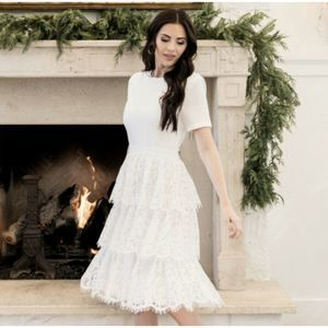 Mix Lace White Tiered Short Sleeve Dress